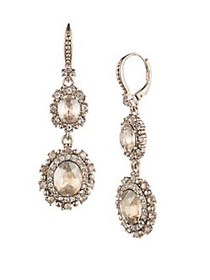 Marchesa Crystal Double Drop Earrings GOLD