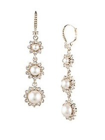 Marchesa Goldtone & Faux Pearl Linear Drop Earring