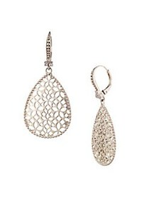 Marchesa Filigree White Goldtone & Crystal Drop Ea