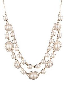 Marchesa Goldtone, Faux Pearl & Crystal 2-Row Fron