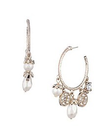 Marchesa Charm Goldtone, Faux Pearl & Crystal Drop