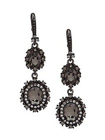 Marchesa Crystal Double Drop Earrings GUNMETAL