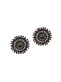 Marchesa Crystal Round Stud Earrings GUNMETAL