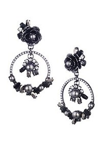 Marchesa Faux Pearl & Crystal Drop Earrings SILVER