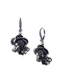 Marchesa Gunmetal-Tone Floral Drop Earrings GUNMET