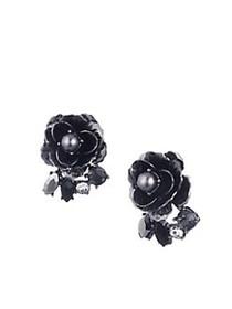 Marchesa Faux Pearl & Crystal Flower Button Earrin