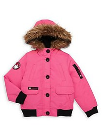 Canada Weather Gear Girl's Faux-Fur Hooded Parka F