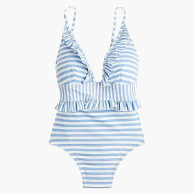 J. Crew Ruffle plunging one-piece swimsuit in mixe