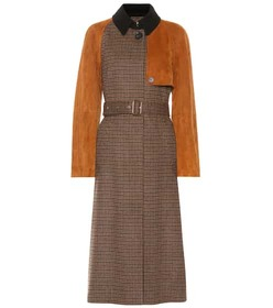 Salvatore Ferragamo Checked wool and suede trench