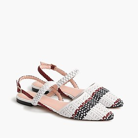 J. Crew Pointed-toe woven flats with ankle strap