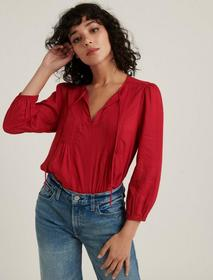 Lucky Brand Pleated Popover Top