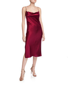 Fleur Du Mal Cowl-Neck Slip Dress with Slit