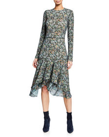 See by Chloe Long-Sleeve Tiered Printed Flounce Dr