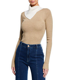 See by Chloe Two-Tone Draped Turtleneck Sweater