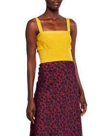 Victor Glemaud Square-Neck Sleeveless Wool Crop To