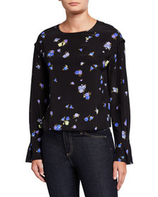 Jason Wu Floral Long-Sleeve Silk Blouse