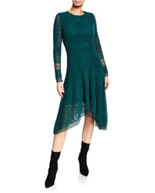 See by Chloe Long-Sleeve Lace Asymmetrical Dress