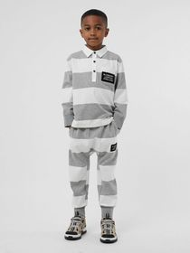 Burberry Long-sleeve Striped Cotton Polo Shirt in