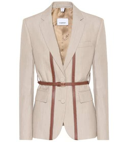 Burberry Leather-trimmed wool blazer
