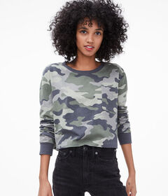 Aeropostale Long Sleeve Camo Cropped Tee