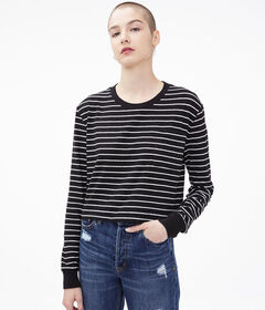 Aeropostale Long Sleeve Striped Boxy Cropped Pocke