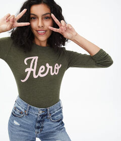 Aeropostale Long Sleeve Aero Script Graphic Tee***