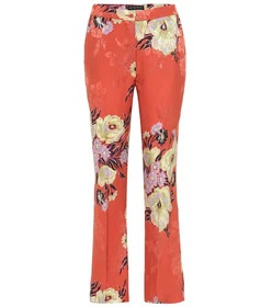 Etro Mid-rise silk-blend bootcut pants