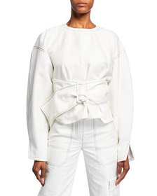 3.1 Phillip Lim Long-Sleeve Twill Pullover with Be