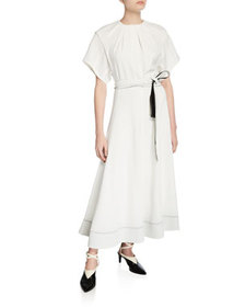 3.1 Phillip Lim Fit-&-Flare Short-Sleeve Belted Lo