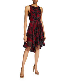 Halston Floral-Print Sleeveless High-Low Tulle Dre