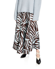 3.1 Phillip Lim Pleated Zebra-Print Midi Skirt wit