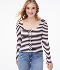 Aeropostale Long Sleeve Striped Lace-Up Bodycon To