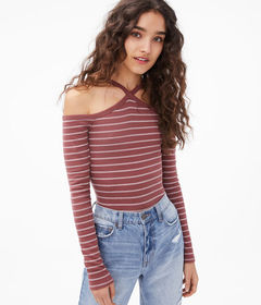 Aeropostale Long Sleeve Striped Cold-Shoulder Diam