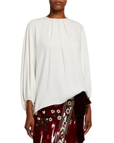 Oscar de la Renta Stretch Silk Puff-Sleeve Blouse