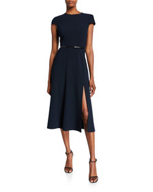 Elie Tahari Miciela Cap-Sleeve Belted Dress with S