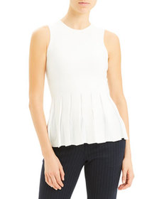 Theory Pleated Prosecco Sleeveless Peplum Top