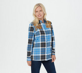 """As Is"" Denim & Co. Stretch Long-Sleeve Plaid Shir"