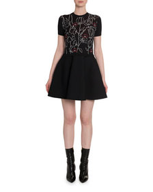 Valentino Lips & Rose Embroidered Fit-&-Flare Dres