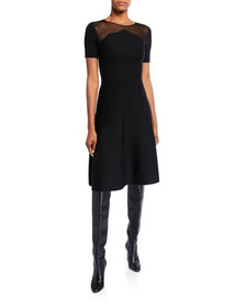 Oscar de la Renta Knit Mesh-Shoulder Day Dress
