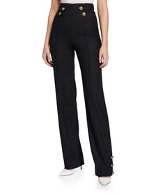 Oscar de la Renta High-Waist Enamel-Button Pants