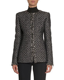 Andrew Gn Embroidered Tweed Slim-Fit Jacket