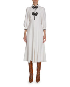 Andrew Gn Butterfly Lace-Embroidered Silk Dress