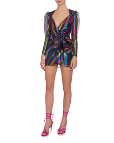 The Attico Metallic Rainbow-Striped Bow-Waist Mini