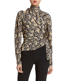 Altuzarra Paisley High-Neck Slash-Front Top