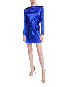 BERNADETTE Judy Silk Knot-Front Mini Dress