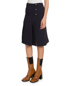 Chloe Button-Front Wool Knee-Length Skirt