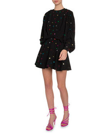 The Attico Star Sequined Flare Dress