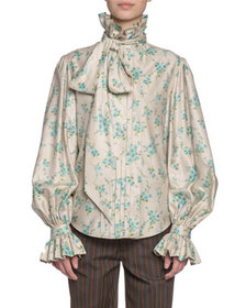 Marc Jacobs Floral Print Georgette Full-Sleeve But