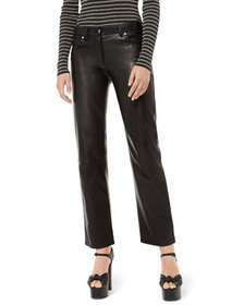 Michael Kors Collection Straight-Leg Leather Pants
