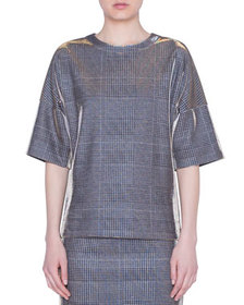 Akris punto Metallic Glen-Check Jersey Shirt